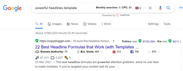 Powerful Headlines Template Search